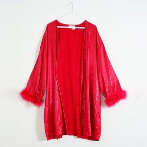 VINTAGE Red Feather Boudoir Robe